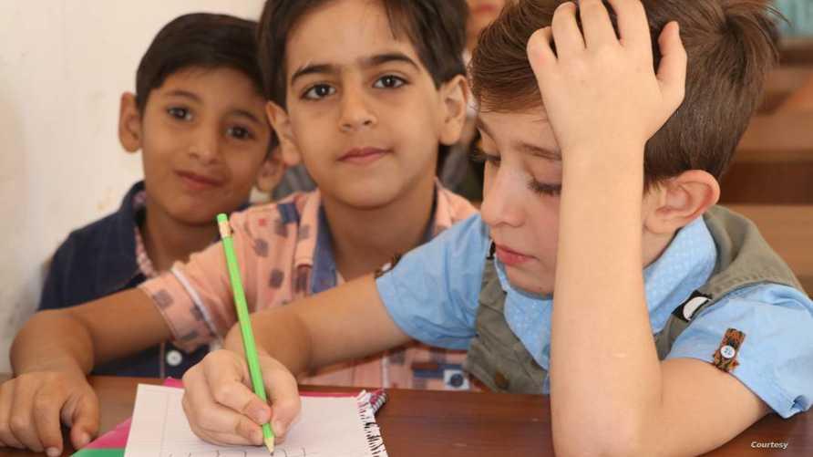 أطفال في مدرسة في الرقة