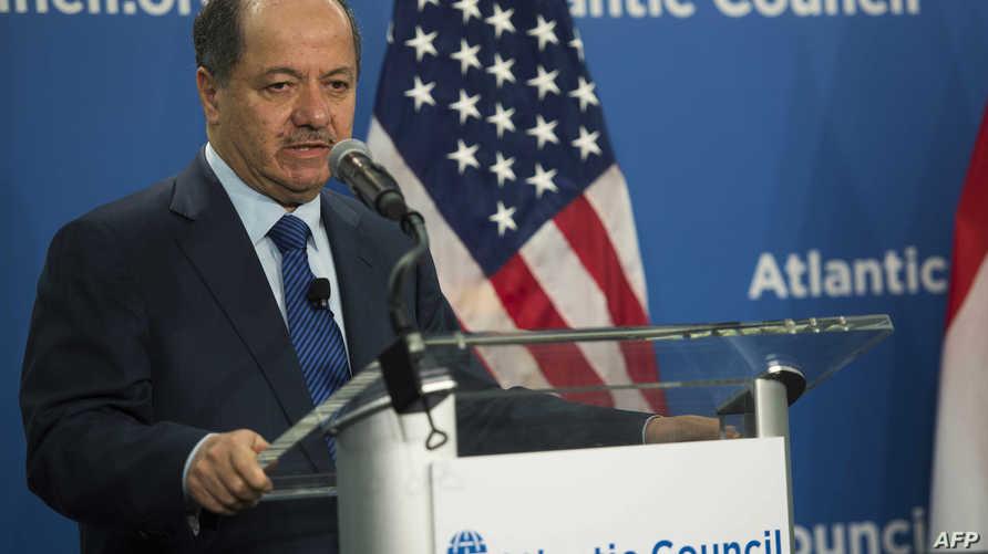 رئيس اقليم كردستان العراق مسعود بارزاني في مؤتمر صحافي له في واشنطن