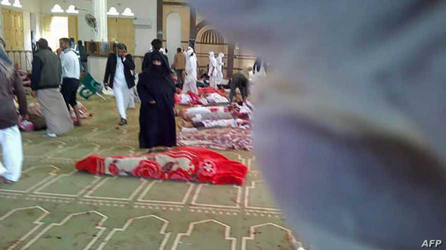 داخل مسجد الروضة في سيناء بعد الهجوم الجمعة