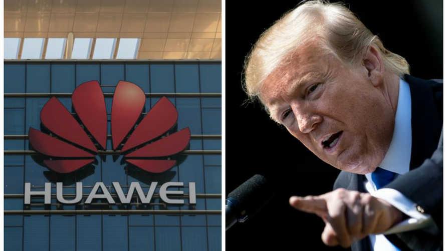 الرئيس دونالد ترامب على اليمين/ وشعار شركة هواوي الصينية على اليسار