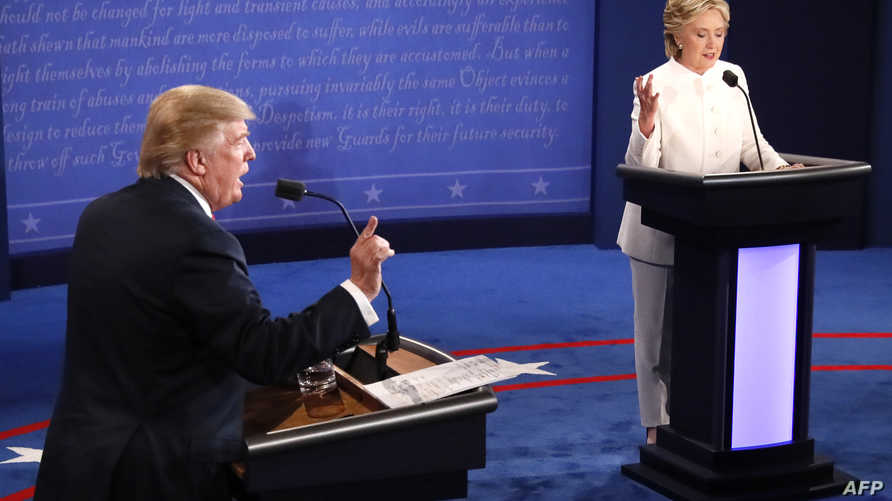 دونالد ترامب وهيلاري كلينتون في المناظرة الثالثة والأخيرة الأربعاء
