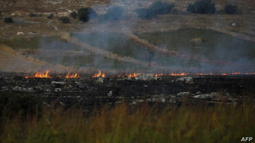 صورة لموقع سقوط القذيفة التي أطلقها حزب الله من لبنان باتجاه بلدة أفيفيم الإسرائيلية - 1 سبتمبر 2019