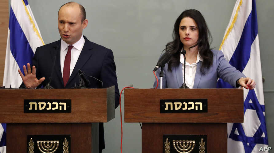 وزير التعليم الإسرائيلي نفتالي بينيت ووزيرة العدل أيليت شاكيد