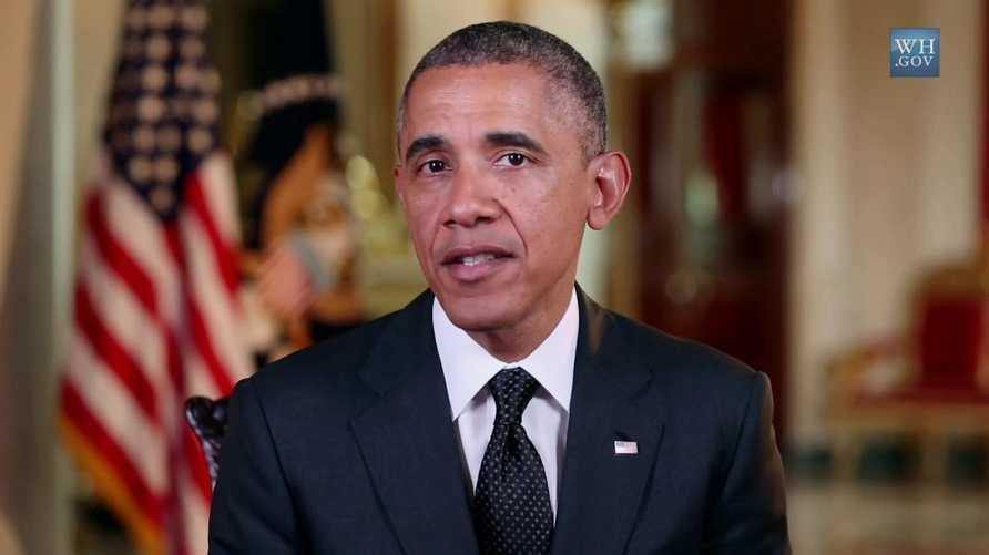 الرئيس باراك أوباما في خطابه الإذاعي الأسبوعي