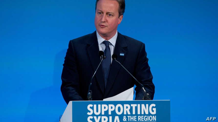 كاميرون خلال مؤتمر صحافي على هامش مؤتمر المانحين لسورية في لندن الخميس