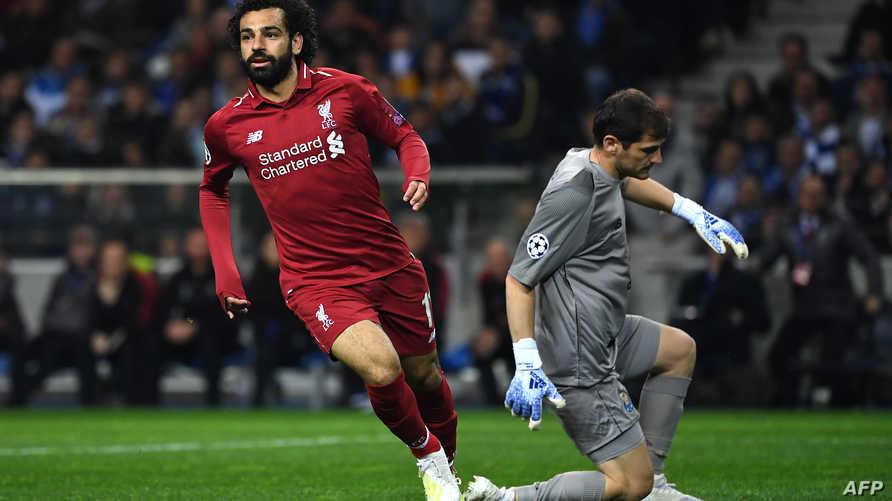 محمد صلاح بعد تسجيله هدفا ضد بورتو