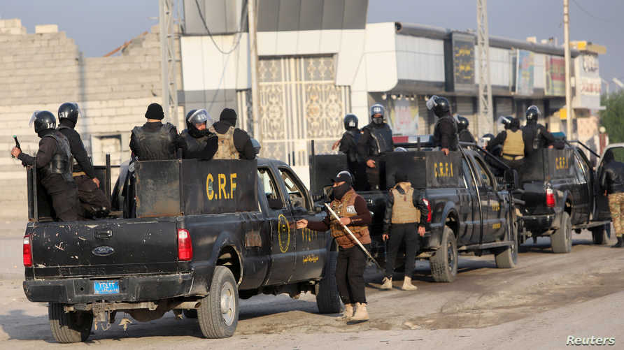 قوات الأمن العراقية خلال مظاهرات في البصرة - 24 نوفمبر 2019