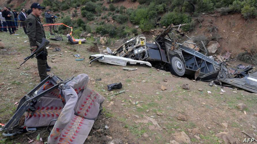 موقع الحادث في تونس الذي أودى بحياة 26 شابا