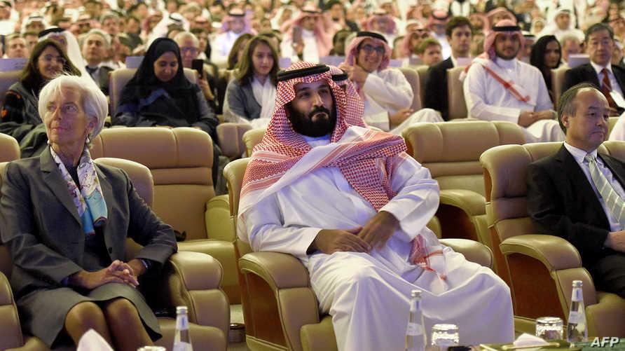 محمد بن سلمان وكريستين لاغارد خلال مؤتمر دافوس الصحراء 2017. أرشيفية