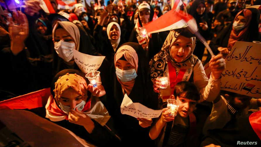 متظاهرات في النجف جنوبي العراق