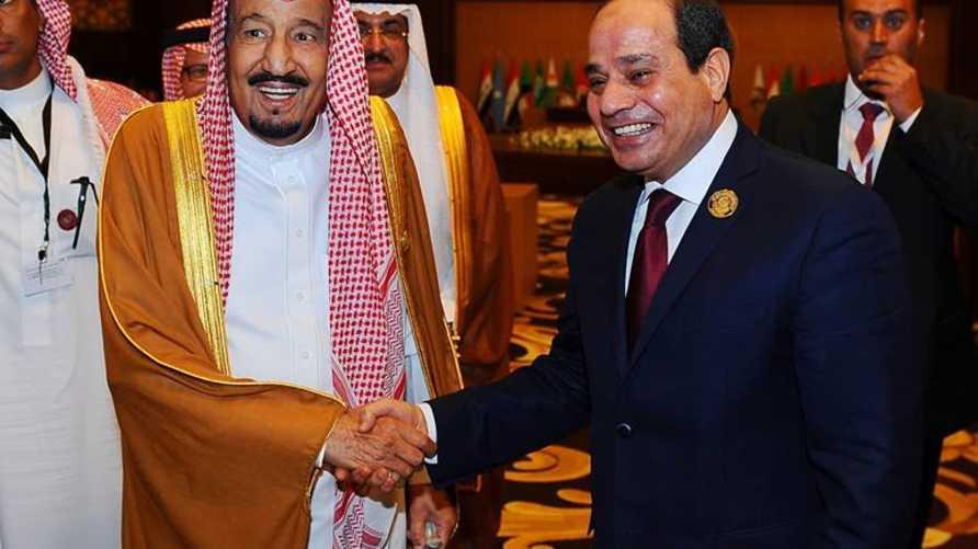 الرئيس المصري والعاهل السعودي أثناء لقائهما (المصدر: الرئاسة المصرية)