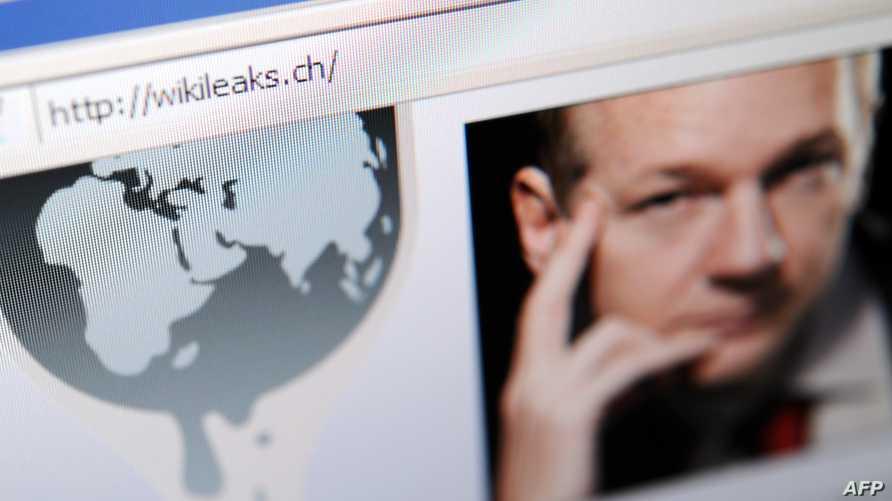 جانب من الصفحة الرئيسية لموقع ويكيليكس مع صورة مؤسسها جوليان أسانج