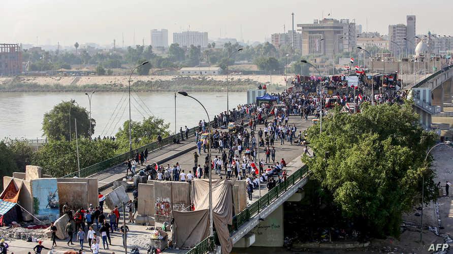 آلاف المتظاهرين في ساحة التحرير وعند جسر السنك صباح 17 نوفمبر 2019