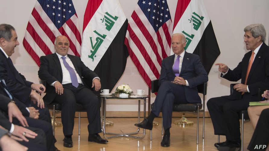 نائب الرئيس الأميركي جو بايدن  مع رئيس الوزراء العراقي حيدر العبادي