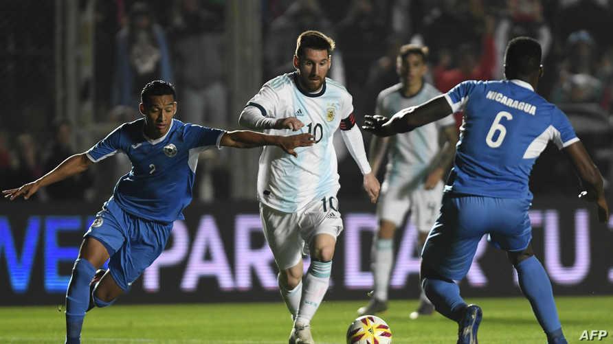 ميسي خلال المباراة ضد نيكاراغوا