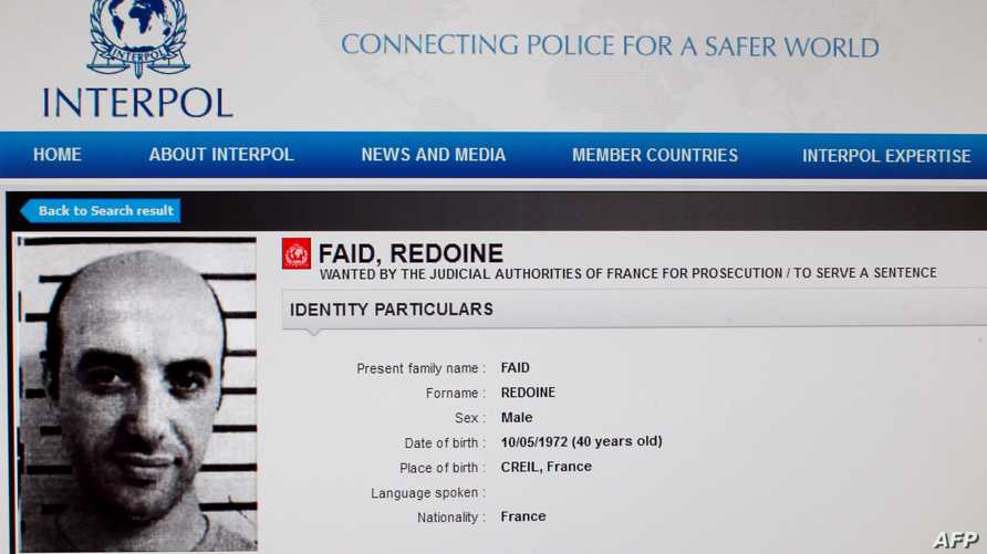صورة من موقع الإنتربول للمجرم الفرنسي رضوان فايد