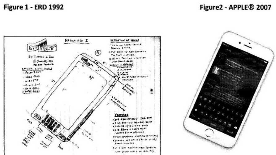 صورة مقارنة بين اختراع توماس روس الأصلي وجهاز آيفون  من أوراق الدعوى القضائية