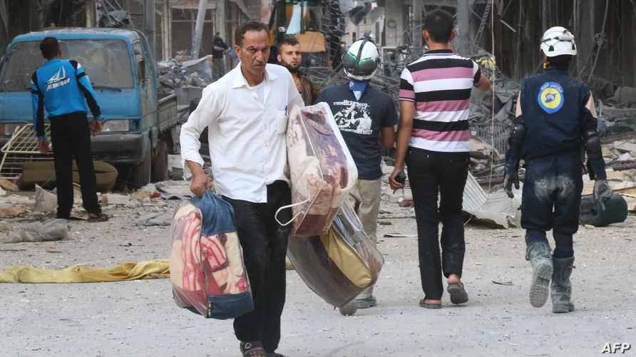 مدنيون نازحون من حلب