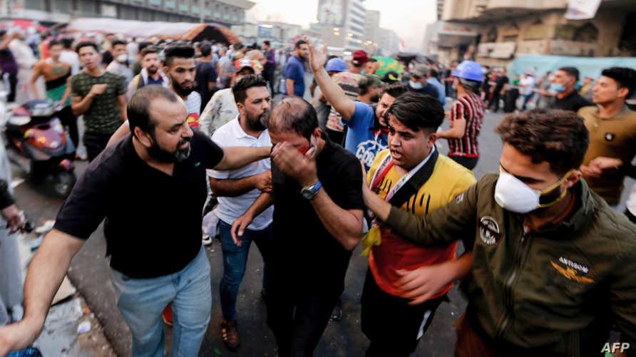 إصابة متظاهرين في ساحة الخلاني ببغداد