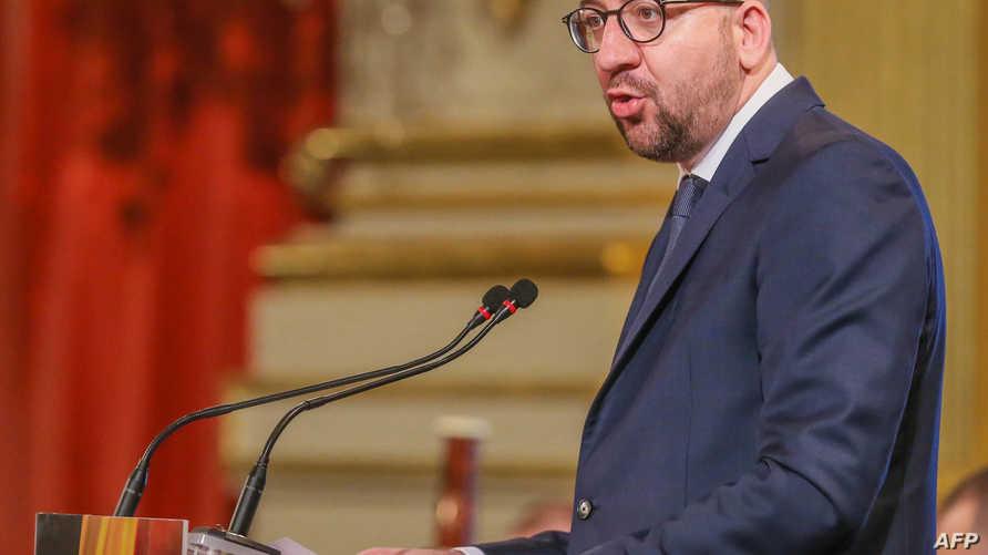 رئيس الوزراء البلجيكي شارل ميشال خلال المراسم التي أقيمت في القصر الملكي في بروكسل