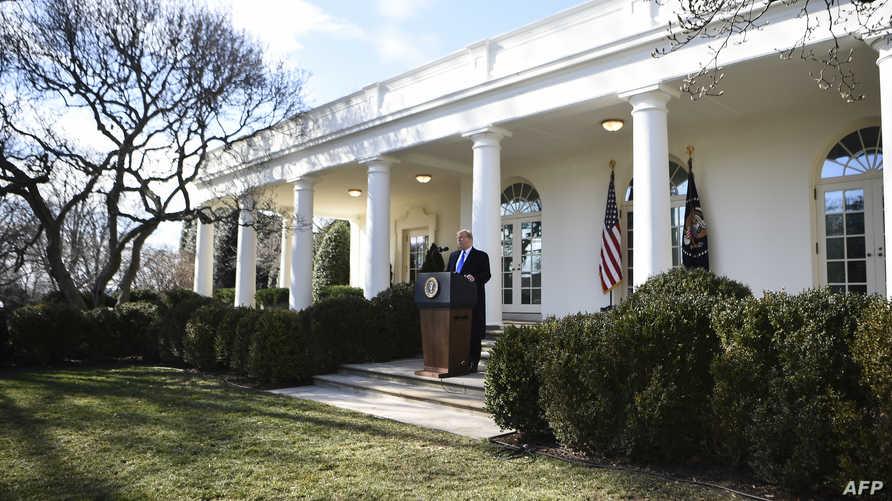 ترامب خلال إلقاء خطابه في البيت الأبيض