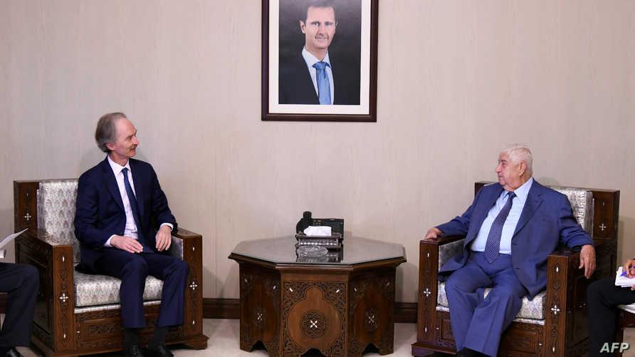 """مبعوث  الأمم المتحدة الى سوريا """"غير بيترسن"""" في لقاء سابق مع ولید المعلم"""