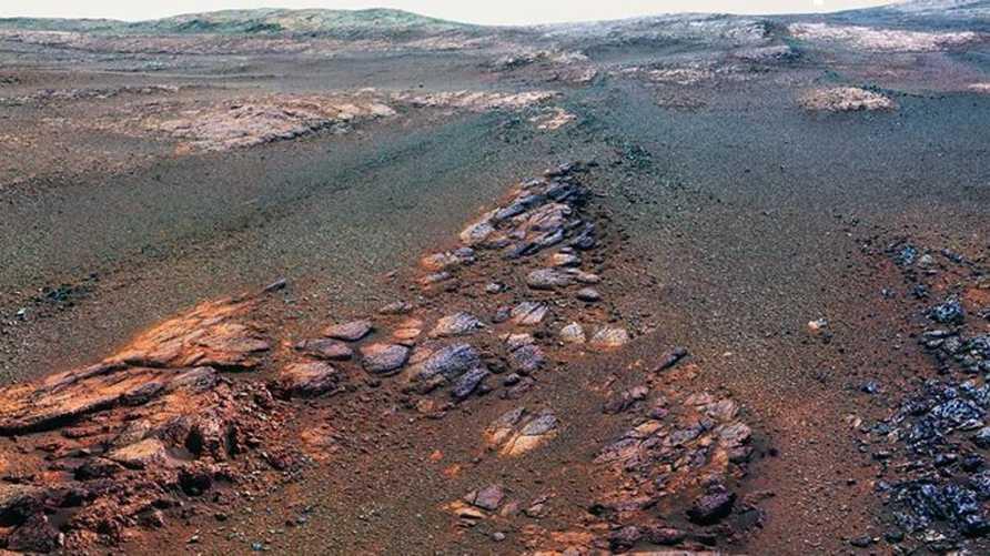 مقطع من صورة البانوراما لسطح المريخ