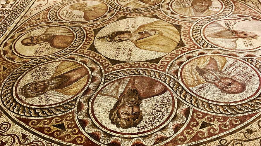 موازييك الحكماء السبعة الإغريق، في المتحف الوطني في بيروت