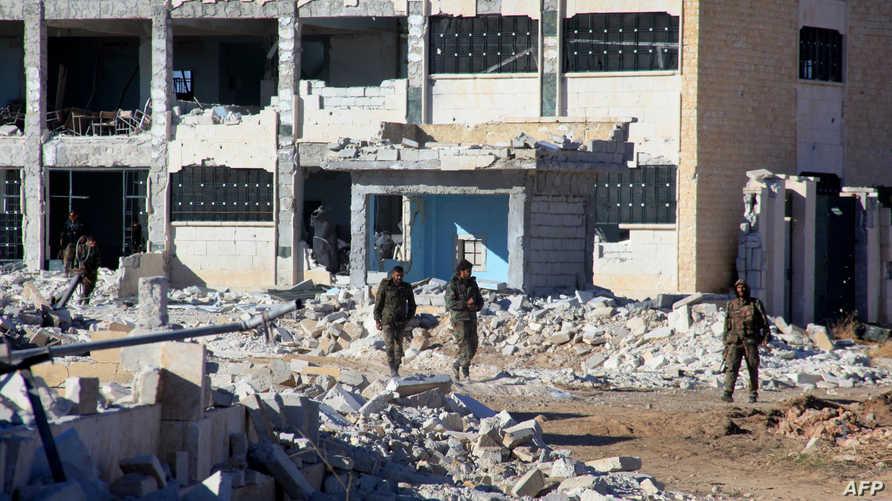 عناصر من الجيش السوري تدخل مطار كويرس  في حلب
