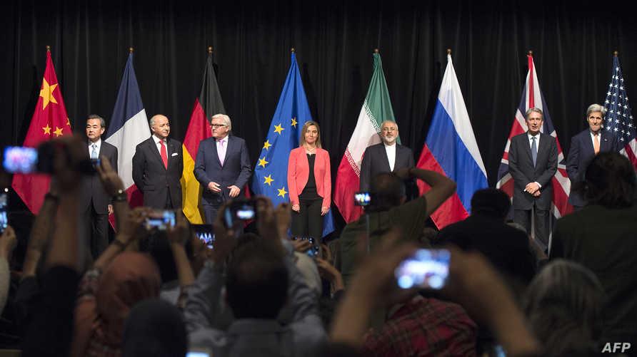 ممثلو الدول التي شاركت في المفاوضات حول برنامج إيران النووي