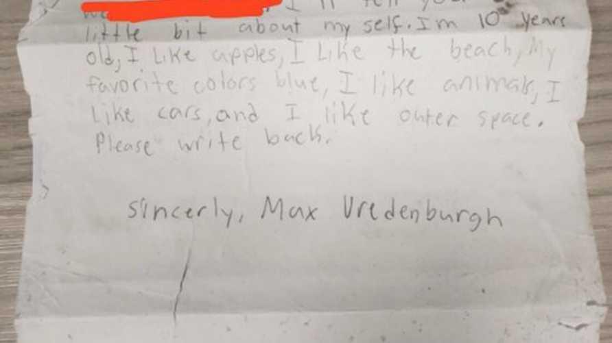 رسالة ماكس التي كتبها منذ تسعة أعوام وألقاها في عرض المحيط داخل زجاجة