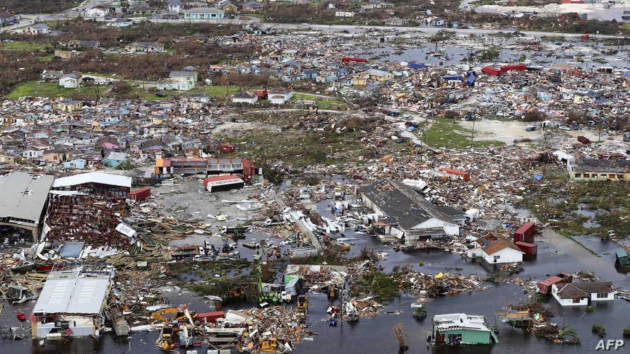 جانب من الدمار الذي خلفه دوريان في الباهاما