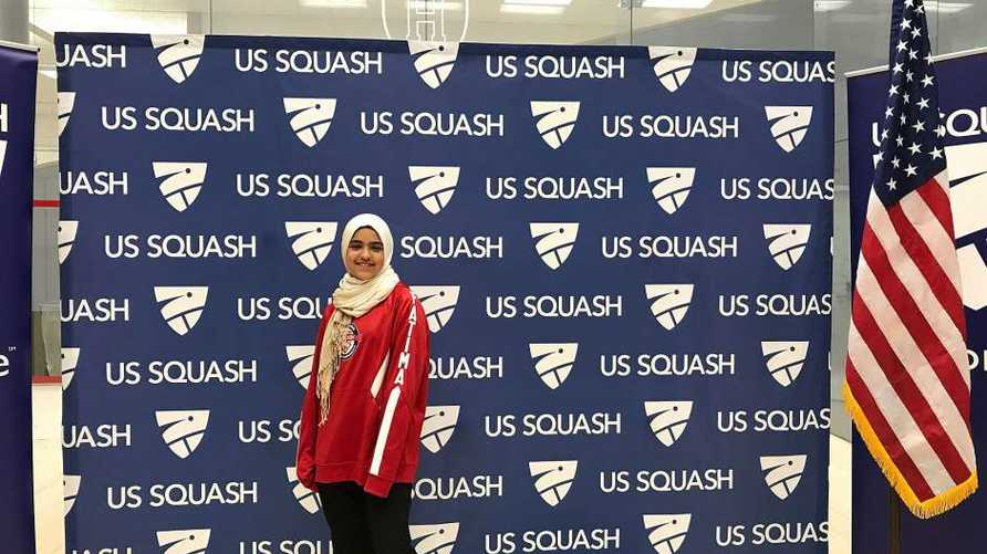 لاعبة الإسكواش الأميركية فاطمة عبد الرحمن (12 عاما) - المصدر: مجلس العلاقات الأميركية الإسلامية