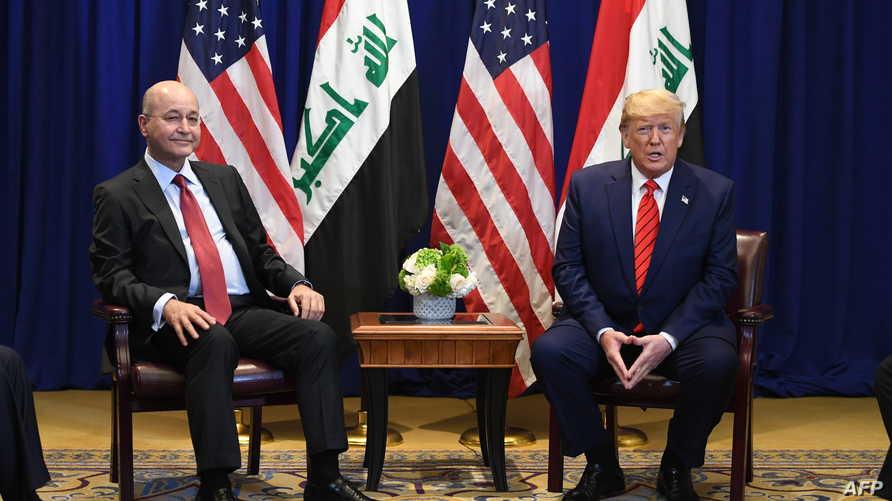 الرئيسان الأميركي دونالد ترامب والعراقي برهم صالح . أرشيفية