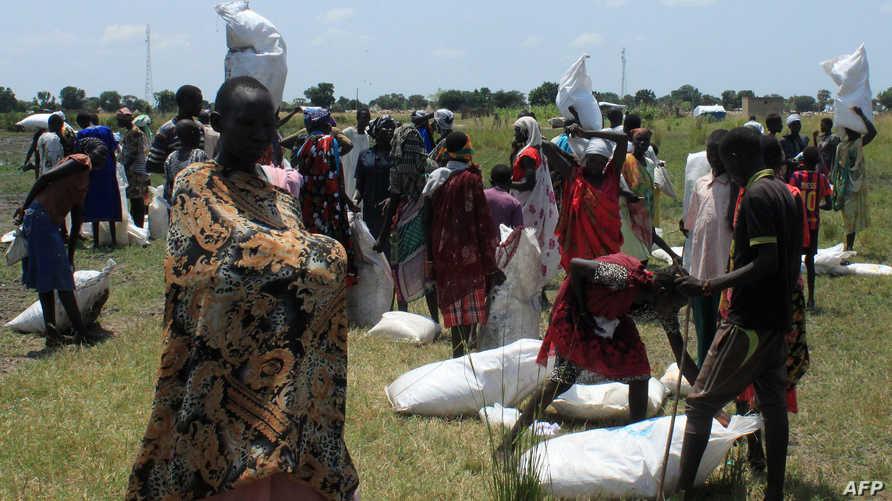 توزيع مساعدات غذائية في جنوب السودان