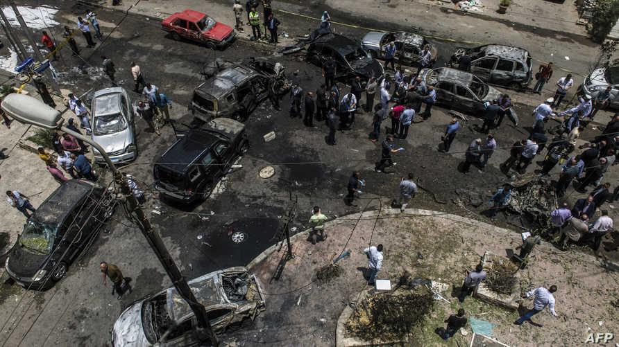 موقع الانفجار الذي استهدف موكب النائب العام في القاهرة
