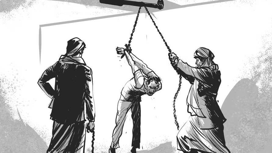 """صورة تخيلية لما يحدث داخل معتقلات جماعة الحوثي نشرتها """"هيومن رايتس ووتش"""""""