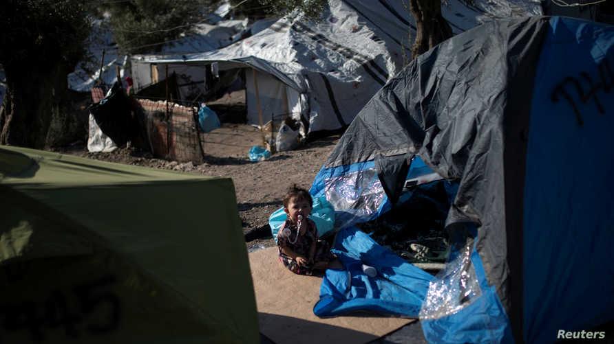 جانب من مخيم للاجئين في جزيرة ليسبوس اليونانية