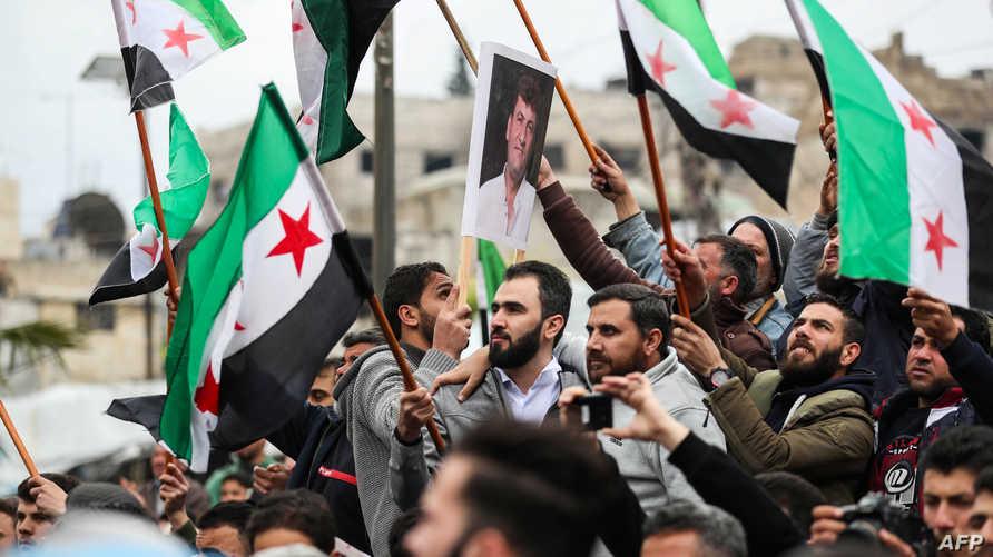 سوريون يتظاهرون في معرة النعمان