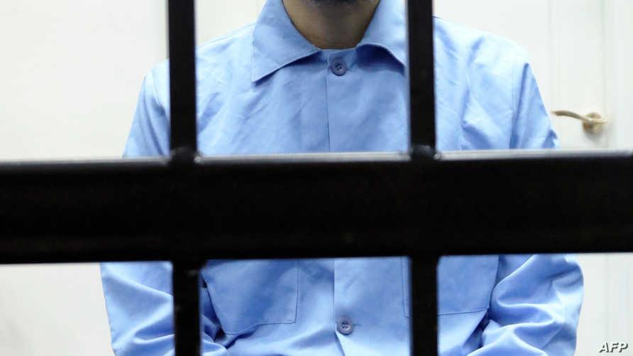 الساعدي القذافي خلال جلسة محاكمته الأحد