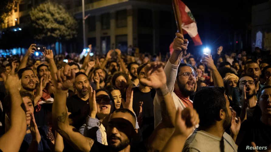 محتجون في وسط بيروت مساء السبت