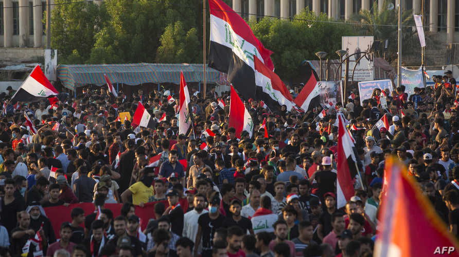 متظاهرون عراقيون في البصرة