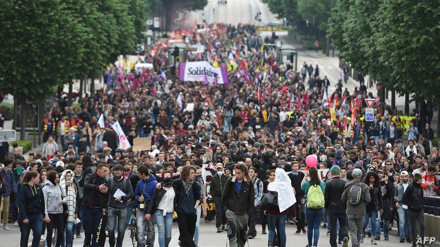 جانب من مظاهرة ضد قانون العمل الذي تسعى الحكومة الفرنسية لإقراره- أرشيف - أرشيف