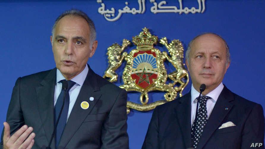 وزير الخارجية الفرنسي (يمين) ونظيره المغربي صلاح الدين مزوار