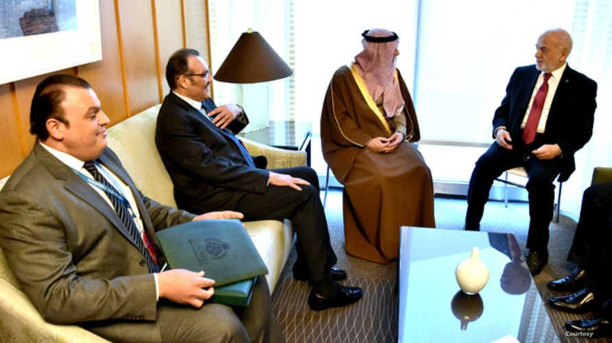 وزير الخارجية السعودي عادل الجبير في لقاء مع نظيره العراقي إبراهيم الجعفري في واشنطن_ الصورة من الموقع الرسمي لإبراهيم الجعفري
