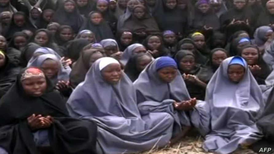 صورة لبعض الفتيات المختطفات مأخوذة من فيديو بثته بوكو حرام
