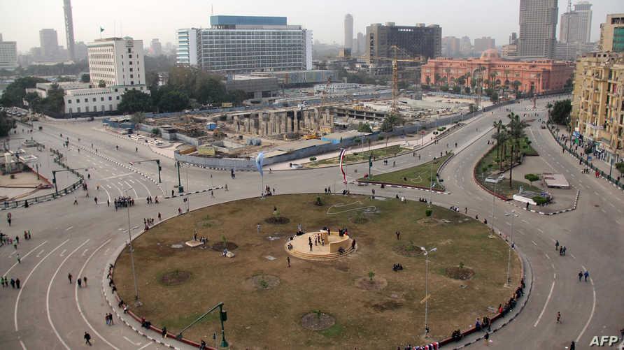 ميدان التحرير وسط القاهرة والذي شهد مظاهرات عدة منذ الخروج للإطاحة بالرئيس الأسبق حسني مبارك عام 2011
