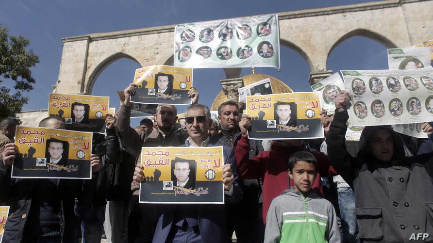 فلسطينيون يتظاهرون في القدس احتجاجا على اعتقال محمد القيق الشهر الماضي
