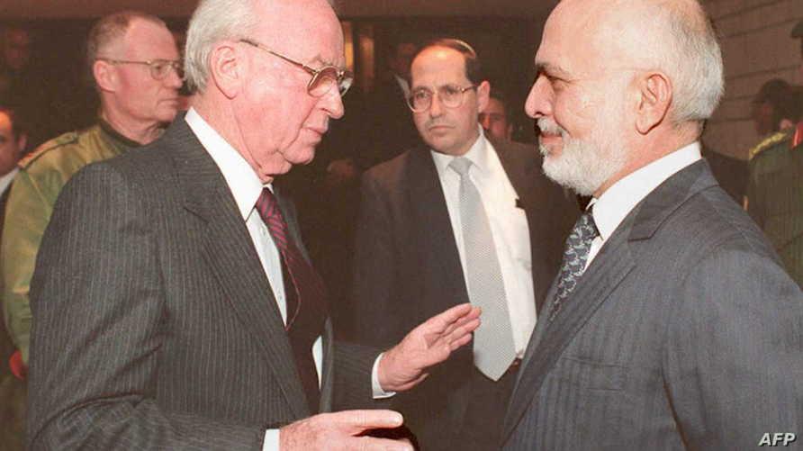 الراحلان الملك حسين ورئيس الوزراء الإسرائيلي إسحق رابين