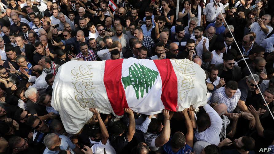 تشييع علاء أبو فخر في بلدة الشويفات اللبنانية